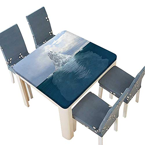 PINAFORE Polyester Tablecloth d Render of Iceberg Visible Both Underneath and Above Surface Easy Care Spillproof 29.5 x 29.5 INCH (Elastic Edge)