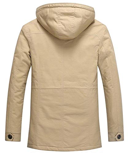 Jacket Coat Thicker Cashmere Parka City Apparel Hooded Leisure Detachable Winter Cotton Hooded Khaki Men's x78fSn5x