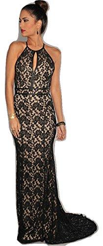 Nuevo Negro y Beige Floral Encaje Noche Prom Cóctel Largo Vestido Tamaño M UK 10UE 38