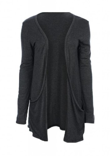 Hot Hanger Ladies Plus Size Pocket Long Sleeve Cardigan 16-26 (24-26 XXXL, Charcoal Grey)