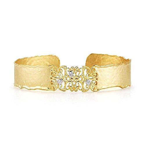 14k Yellow Gold Matte-Hammer-Finish Narrow Filigree Scalloped Edge Cuff Bangle Diamond Bracelet