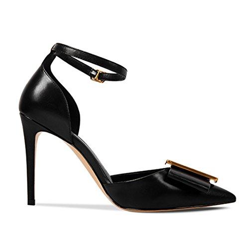 Talon Boutonnées Chaussures Hauts Femmes Sandales Pointu Baotou Noir à pour Chaussures Talons à qXq5zxwrO