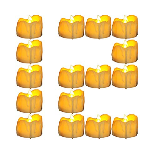 Micandle 12 Pack Led Timer Candle,6 Hours on and 18 Hours Off in 24 Hours Cycle, Small Wax Dripped Yellow Battery Timer Tea Lights Flicker Flameless Candles for Wedding Party Church Home Decor