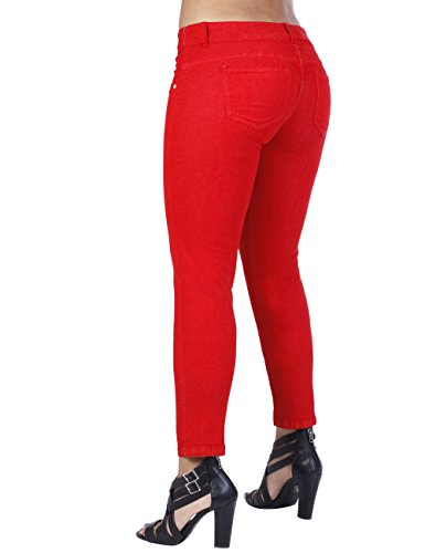 (Curvify Stretch Butt Lifting Skinny Red Jeans | Pantalones Levantacola (600,Red,13))