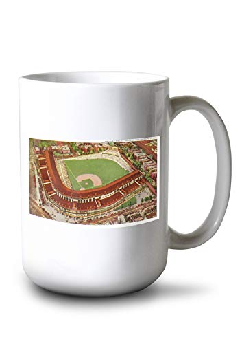 (Lantern Press Chicago, Illinois - Aerial View of Wrigley Field (15oz White Ceramic Mug))