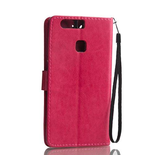 Trumpshop Smartphone Carcasa Funda Protección para Huawei Y6 II Compact + Azul + PU Cuero Caja Protector Billetera con Función de Soporte [No es compatible con Huawei Y6,Y6 II y Y6 Pro] Rojo
