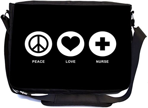 Rikki Knight Peace Love Nurse Black Color Design Messenger Bag - School Bag - Laptop Bag - with Padded Insert - Includes UKBK Premium Coin Purse by Rikki Knight (Image #1)
