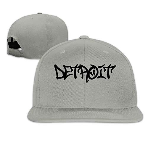 (NINGFEI Detroit Graffiti Trucker Hat Adjustable Men's Solid Flat Bill Baseball Cap Gray)