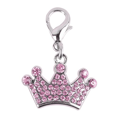 ne Heart Tags Dog Necklace Collar Fashion Rhinestones Crown Pendant Key Chain Dog Hangings Decor Pet Accessories (Pink) (Crown Pet Collar)