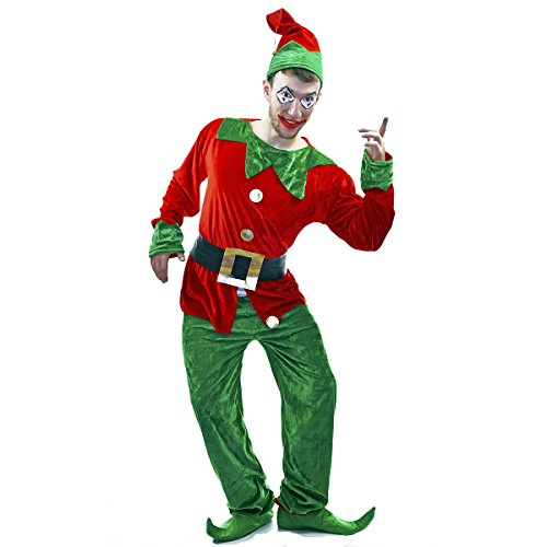 Veroman Men's Christmas Santa's Costume (Elf) (Funny Santa Costumes)