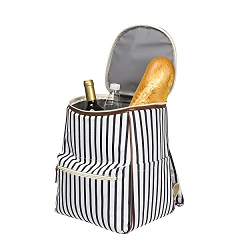 Cathy's Concepts White/Navy Striped Cooler Backpack,