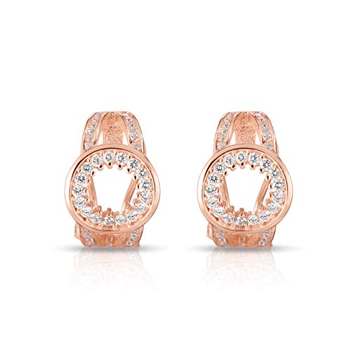 925 Solid Sterling Silver and Cubic Zirconia Designer Jewelry Circle of Life Cluster French Clip Post Earrings. (14K Rose Gold Plated Sterling Silver)