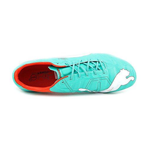 Puma hombres terreno firme de fútbol Evopower 1del zapato Pool Green/White/Grenadine/Turbulence