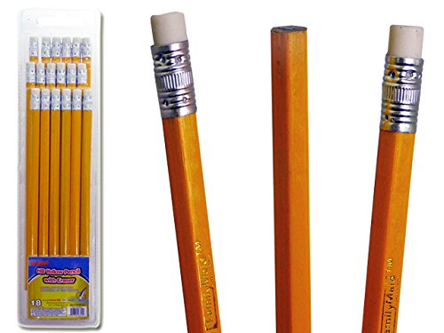 HB YELLOW PENCIL W/ERASER W/BLW/SHARPEN , Case of 72 by DollarItemDirect