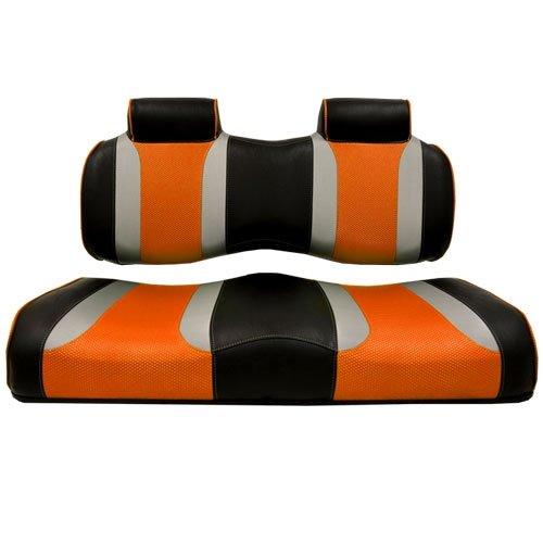 Madjax Tsunami Black W/Liquid Silver Rush & Orange Wave Custom Front Seat - EZGO TXT & RXV by Madjax
