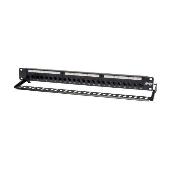Tripp Lite 24-Port 1U Rackmount Cat6 Feedthrough Patch Panel, RJ45 Ethernet(N254-024) 3 24 PORT: Tripp Lite's Cat6 Feed-Through 24-port patch panel provides patching without punching down bulk wire to the back of the panel. CAT6/CAT5 PATCH PANEL: Cat6 RJ45 Jacks on both sides of the panel. CERTIFIED: Fully meets or exceeds Cat6 specifications - works with USOC, T568A, and T568B wiring.