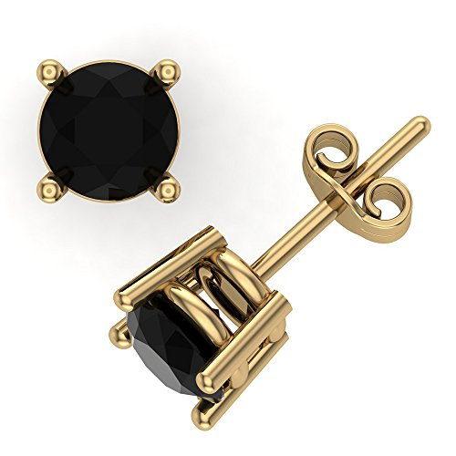 4 mm Black Diamond Stud Earrings 2/3 cttw 14K Solid Yellow Gold Push (Diamond Solid 14k Gold Stud)
