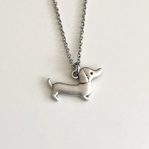 Dachshund Necklace on Stainless Steel Chain - Wiener Dog Breed Jewelry - Dog Mom Gift ()