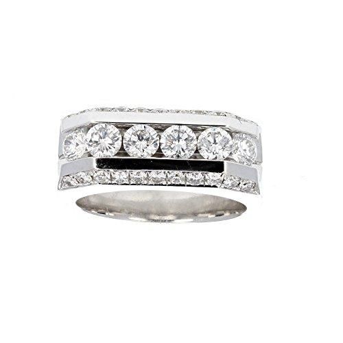 Wedding Ring,, 18KT White Gold Mens Diamond Wedding Ring, 2.30CT -