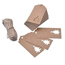 Healifty 4.5x9.5cm Kraft Paper Gift Tags Xmas Tree Label with 20 Meters Twines 100pcs