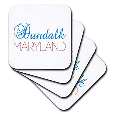3dRose Alexis Design - American Cities Kentucky-Nebraska - Dundalk, Maryland blue, red text. Patriotic home town design - Coasters