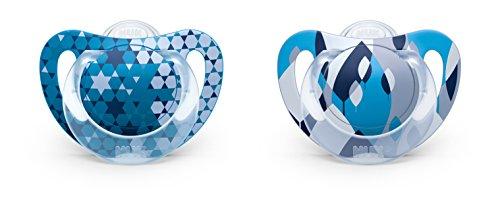 NUK 10175110 Genius Color Silikon-Schnuller, zahnfreundlich, Größe 1 (0-6 Monate), BPA-frei, 2 Stück, Boy