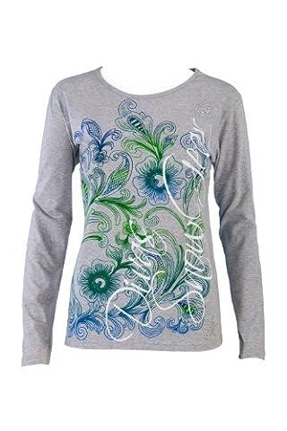 Divas SnowGear Rhinestone Floral Shirt (Heather Gray, Medium) - Divas Womens Shirts
