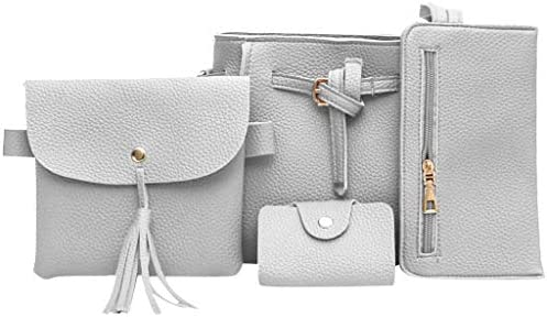 Womens Leather Bag, 4pcs Shoulder Messenger Bag Shopping Daily Handbag Wallet Coin Purse Satchels Card Package – The Super Cheap