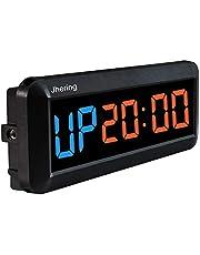 Jhering 1.5 Pulgadas 6 Digital Led Temporizador de Intervalo Reloj Cronómetro Cuenta Regresiva para Gimnasio Fitness Hogar(Azul/Rojo)