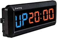 Jhering LED Interval Timer, Count Down/Up Clock, Stopwatch, Gym Timer with Remote, Workout Timer for Home Gara