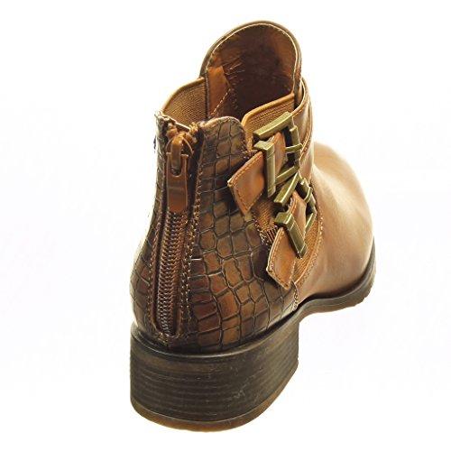 Cm 3 Serpiente Ancho Piel Botines Talón Plantilla De Angkorly Tacón Forrada Hebilla Chelsea Tanga Zapatillas Moda Boots Camel Mujer RxwZpq6