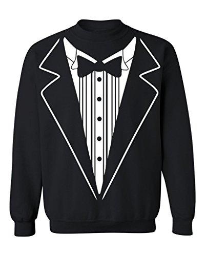 Sweatshirt Tux (P&B Tuxedo White Funny Crewneck Sweatshirt, 3XL, Black)