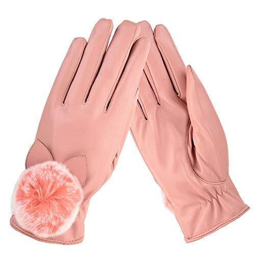 l'inverno donna antivento velluto nero impermeabile Touch guidano in l'autunno pelle Screen e rosa Ispessimento da più caldo Guanti che Driving Ag8xB