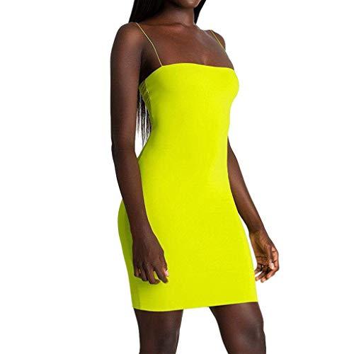 Women's Sexy Bodycon Spaghetti Strap Cami Slip Under Mini Dress Sleeveless Club Mini Short Dress Yellow