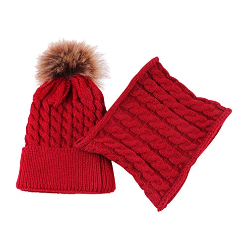 DRESHOW BQUBO 2 Pack Baby Winter Knit Hat Toddler Crochet Hat with Necklace Children抯 Pom Winter Hat Beanie
