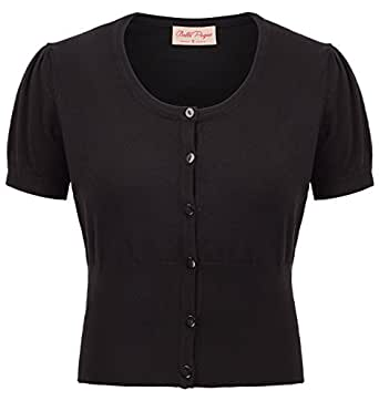 Belle Poque Black Women Puff Short Sleeve Bolero Small BP707-1