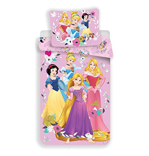 Disney Princess Snow White Rapunzel Cinderella Duvet Cover Set 100% Cotton (Princess Snow White Bedding Set)