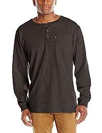 Key Apparel Men's Heavyweight 3-Button Long Sleeve Henley Pocket T-Shirt