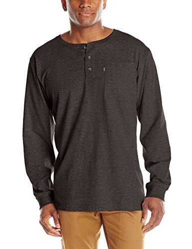(Key Apparel Men's Heavyweight 3-Button Long Sleeve Henley Pocket T-Shirt, Black, Large)