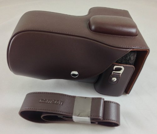 Camson Leather Camera Case Bag and Strap for Nikon D7200, D7100, D7000 + 18-140 or 18-55 Lens (Vintage Brown)