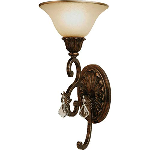 Wall Sconces 1 Light Bulb Fixture with Multi Tone Bronze Finish Caramelized Glass with Crystal Jewels Medium 8