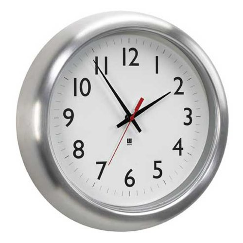 Umbra Station Aluminum Wall Clock Silver Rim Picture Frame