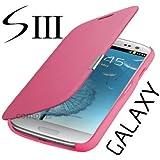 Samsung Galaxy S3 mini i8200n i8190 Flip Cover Pink Hülle Tasche Akkudeckel Flip Case inkl. Displayschutzfolie
