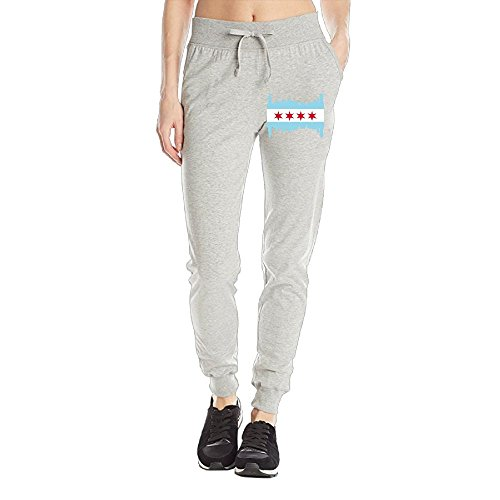 SK*NN Women's Closed Bottom Jersey Sweatpant, Chicago Skyline City Flag Joggers - Shopping Jersey City