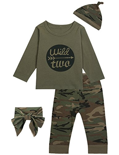 Toddler Girls Camouflage Shirt - Children Boys' Outfit Long Set 2PCS Twins Camouflage Letter Print Shirt with Pants (3T)
