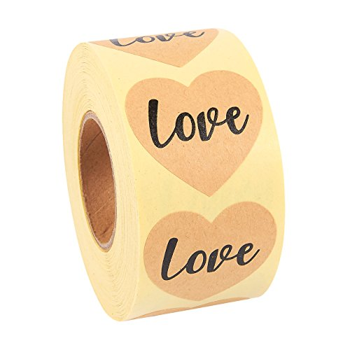 - Love Stickers Roll - 500-Piece Heart Shape Love Labels, Ideal for Scrapbooking, Crafting, Party Favors, Kraft Paper Adhesive Labels, Natural Brown, 1.5 Inches in Diameter