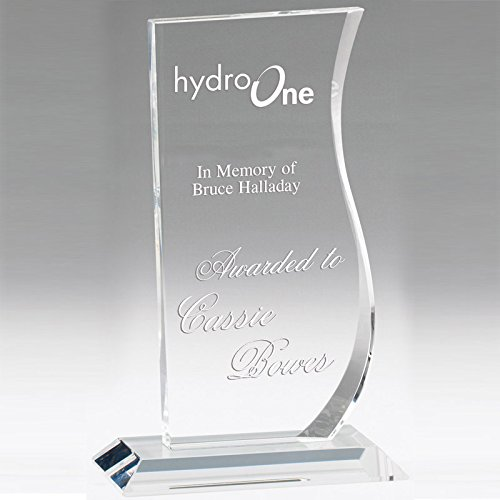 Customizable 9 Inch Wave Shaped Optical Crystal Award with Personalization