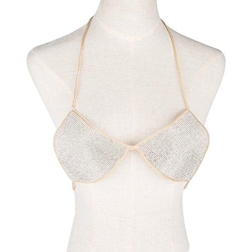 lan27 Sexy Women Nightclub Bling Crystal Bra Party Body Jewelry Bikini Beach Harness Slave Gold Color Necklace Bra by lan27 (Image #6)