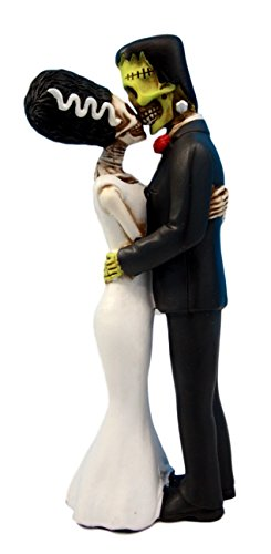 Ebros Day of The Dead Wedding True Love Kiss Skeleton Frankenstein Skull Bride and Groom Couple Figurine Graveyard Macabre Ossuary Halloween Spooky Home Decor Statue ()