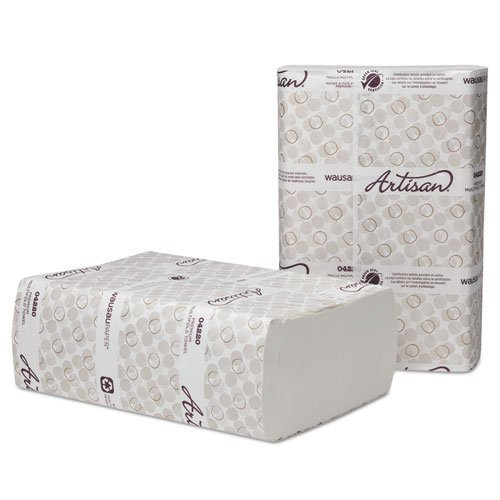 Wausau Paper Artisan Folded Towels, Multi-Fold,9 1/2x9 1/8, White, 250/Pack,12 Pack/Carton